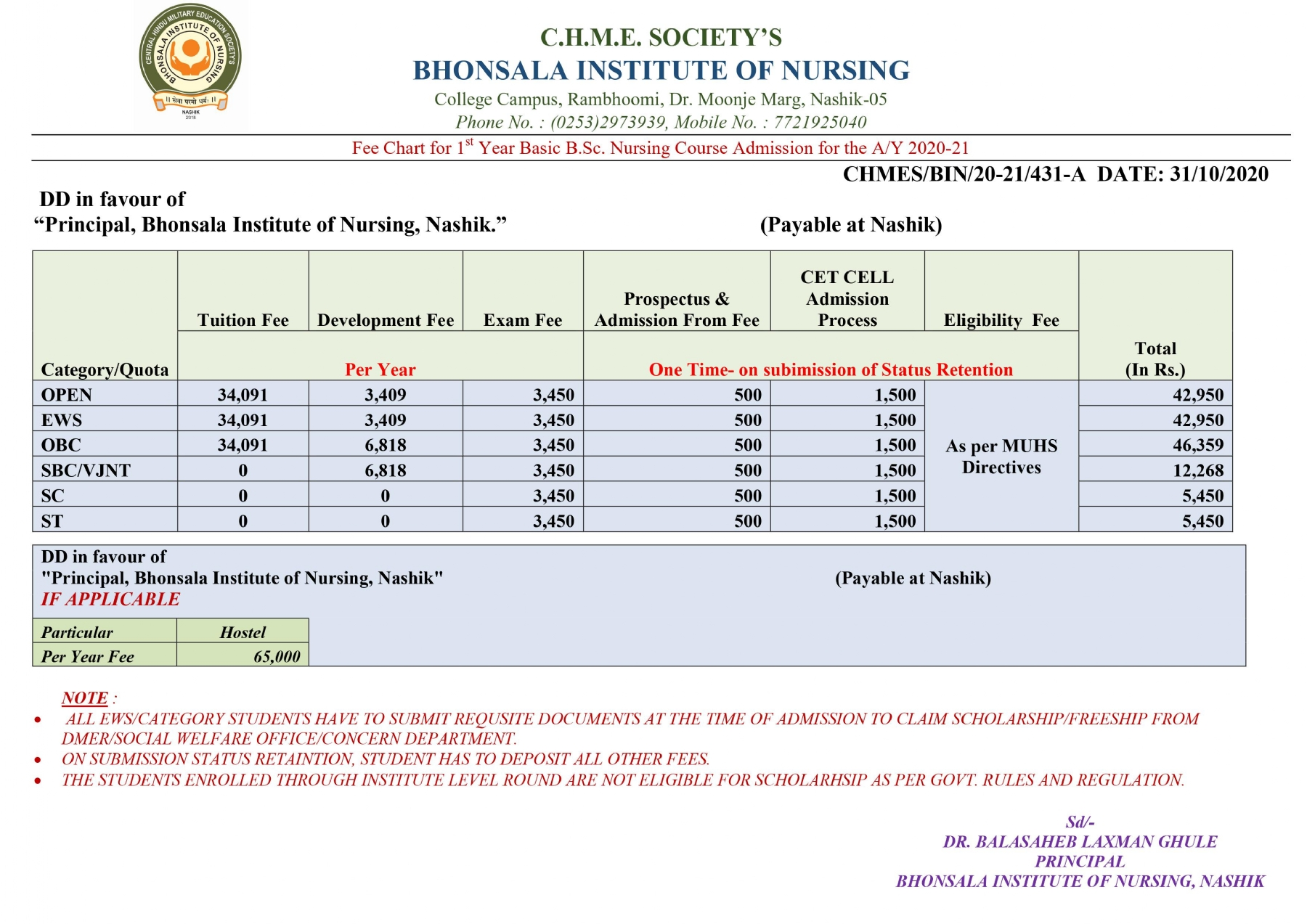 APPROVED FEE STRUCTURE FO